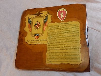 Vintage Antique Hand Made US Army Eight Field Artillery Plaque