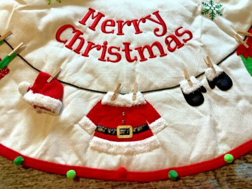 """Pier 1 Imports 48"""" Santa Claus Elf Clothesline Outfit Christmas Tree Skirt NWT"""