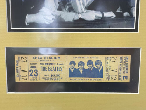 The Beatles at Shea Stadium Aug 23rd 1966 Ticket Framed
