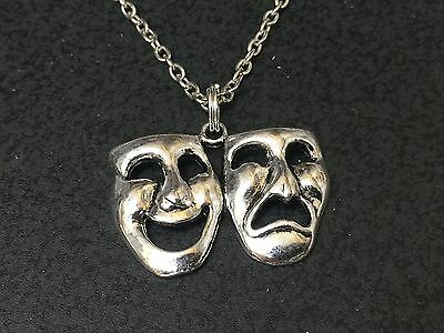 Theater Mask Comedy Tragedy Charm Tibetan Silver 18