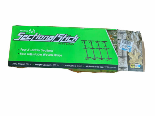 Realtree Sectional Stick Climbing Ladder Sturdy Angled Steps Steel Construction