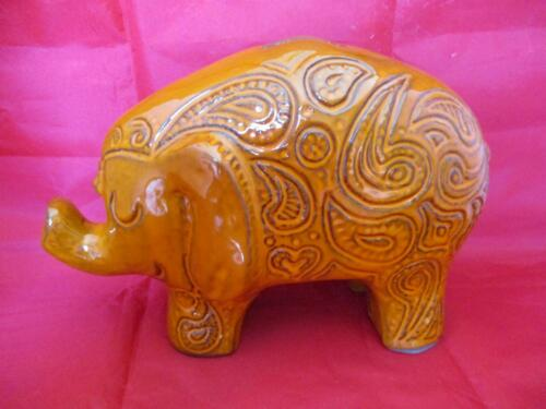 "Vintage Mid Century California Pottery Paisley Orange Elephant Coin Bank 6""X11"""