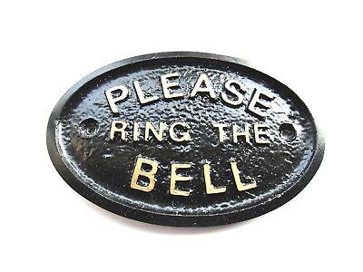 PLEASE RING THE BELL - HOUSE DOOR PLAQUE SIGN GARDEN - BRAND NEW (BLACK)