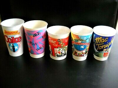**FIVE MORE ASSORTED SIZES COCA COLA PLASTIC DRINK CUPS, ALL IN GOOD CONDITION**
