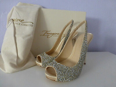 Imagine Vince Camuto Pavi Gold Slingback Peep Toe Glitter Pumps Size 5 New