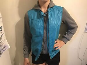 Turquoise faux leather/grey sweater jacket