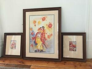 Framed clown prints - Children's Room - SET OF 3 Northcote Darebin Area Preview