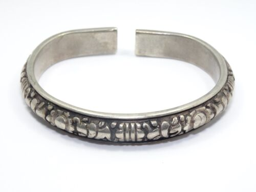 ANTIQUE CHINESE QING LATE 19c SILVER LOTUS FLORAL WEDDING BRACELET 老銀手鐲