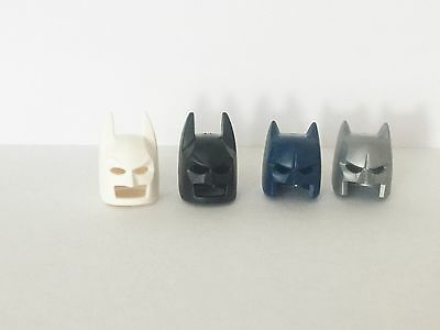 Lego Batman Set of 4 Helmet, Mask, Cowl: Black, Blue, White, Silver