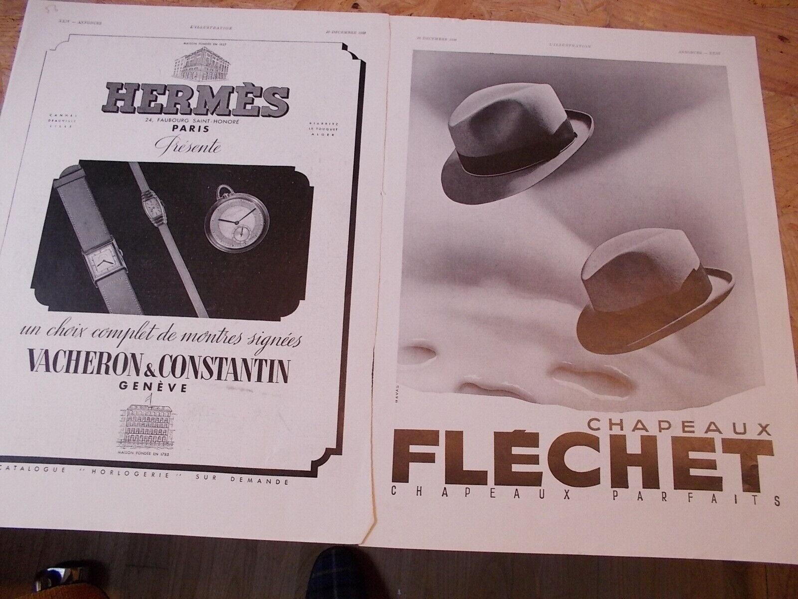 Hermes montres vacheron 56 + chapeau flechet  publicité papier illustration 1933