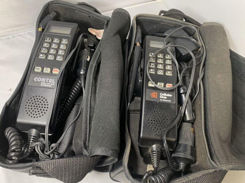 Lot Of 2 Vintage Motorola Car Mobile Brick Bag Phones