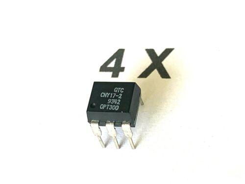 4 x CNY17 -2, Optokoppler, 70V, 5KV, 60mA, Vr = 6V, 150 mW, QTC, DIP6,  4 Stück