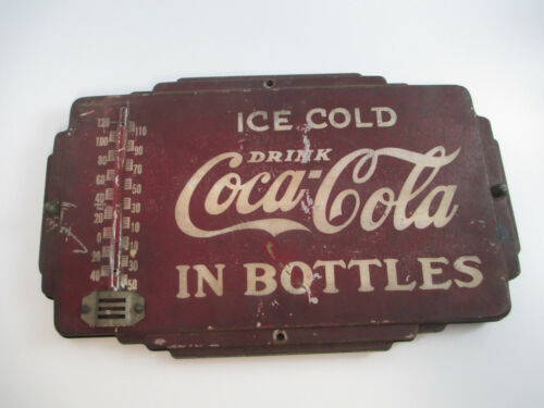 Coca-Cola Double Sided Thermometer Drink Coca-Cola in Bottles Rare Authentic