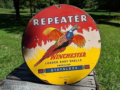 OLD VINTAGE 1961 WINCHESTER REPEATER SHELLS PORCELAIN SIGN BULLETS AMMO