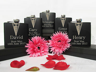 Personalised Engraved 6oz black Hip Flask.Best Man wedding Usher Box bhf6