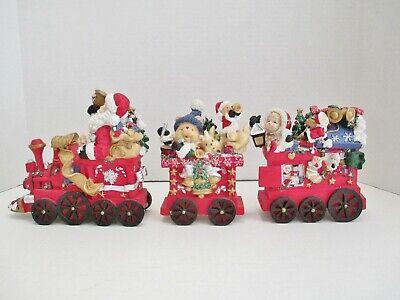 "Vintage 3 Piece Ceramic Train Set Santa Christmas Tree Presents 19"" Long in Box"