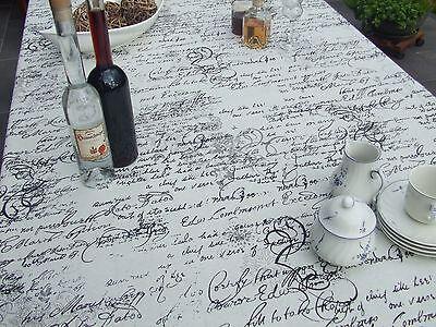 Tischdecke, Rechteckig, Cremeweiß mit Schrift in Schwarz, Baumwollmischung - Creme Baumwolle Mischung