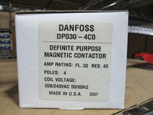 Danfoss Tyco DP030-4C0 Definte Purpose Contactor 4P 40A Res. 240VAC Coil NEW!!!