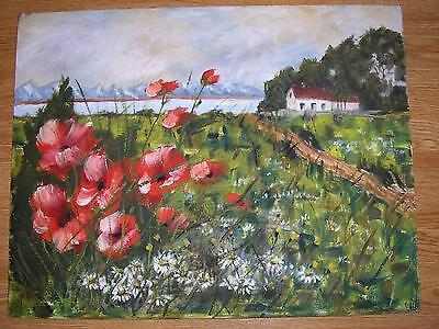 VINTAGE DISTRESSED RED POPPIES DAISY SHABBY GARDEN CHIC LANDSCAPE OIL PAINTING