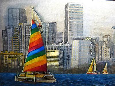 Watercolor Painting Ocean Miami Florida Rainbow Sail Sailboat Yacht City Art 5x7