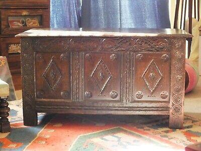 Antique circa 1800 OTTOMAN / Coffer Blanket Box - FAMILY PIECE IN V. NICE ORDER