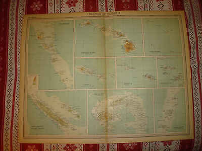 ANTIQUE OCEANIA ISLANDS MAP HAWAII SAMOA NEW CALEDONIA HEBRIDES FIJI TONGA COOK