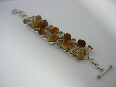 Stunning Unique, Large & Unusual Raw & Faceted Citrine Sterling Silver Bracelet for sale  Shipping to Nigeria