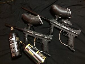 2 tippman paintballguns, 2 co2 cans
