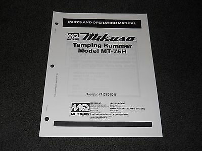 Multiquip Mikasa Mt-75h Tamping Rammer Parts Operation Manual