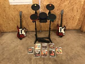 Wii Drums And Guitar Set With 8 Games