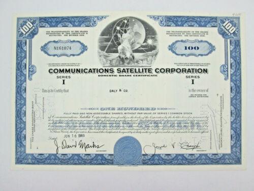 1969 Communications Satellite Corporation / Comsat Stock Certificate 100 Shares