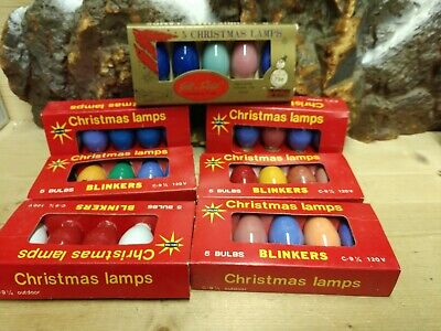 7 Vintage C9-1/4 Christmas Lamps ( bulbs ) packages all assorted colors.