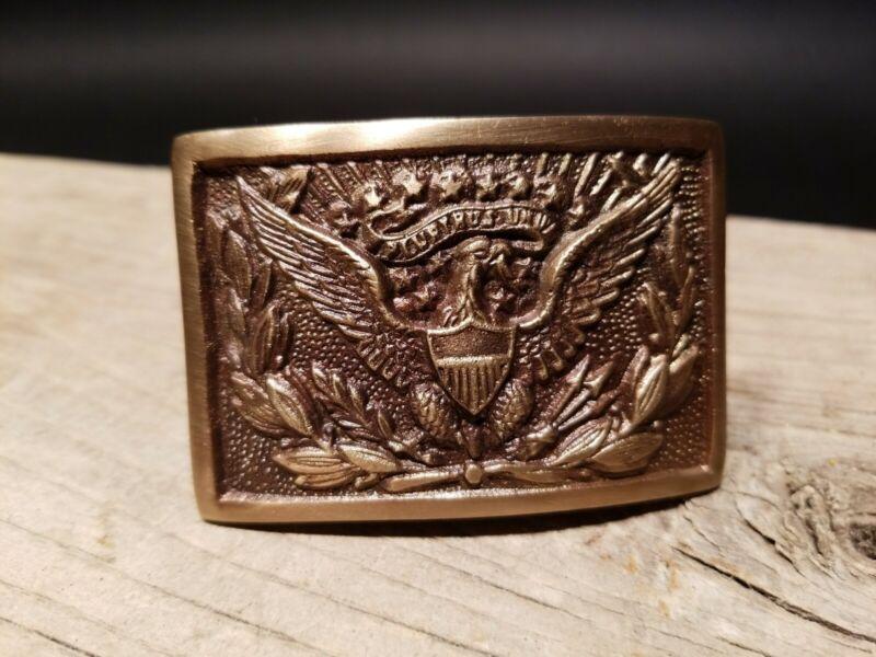 Antique Style Military Civil War Eagle Belt Buckle Plate SOLID Brass Modern