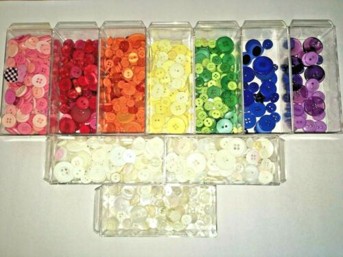 Lot of Crafting Buttons 1.3 Pounds, Sorted by Color - Very Good Condition