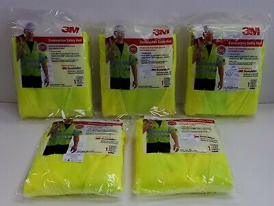 Lot Of 5 3m 94900 Reflective Construction Safety Vest One Size Fits Most