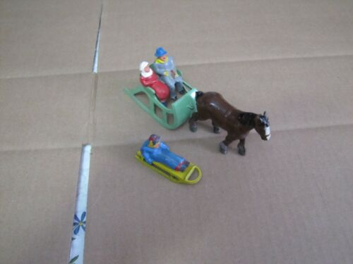 Antique Barclay Figures Sled ,Horse, sleigh