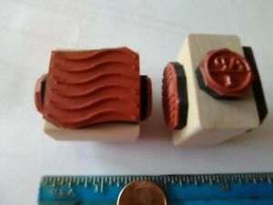 Rubber Stamps Postal Cancellations reproductions 4 different images 1 wood cube