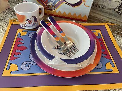 Vintage Disney Aladdin Dinnerware Set Plate Bowl Mug New In Box