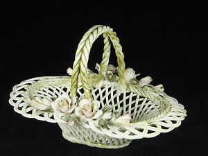 Beautiful Italian Design Porcelain Floral Basket Oranment/Art Deco/Antique Style