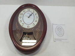 WallarGe Pendulum Wall Clock,Extra Large, Cherry Tone Wood