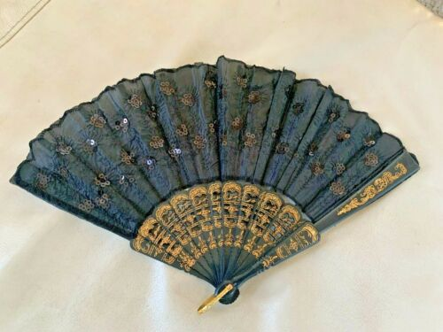 Hand Held Folding Fan Black Lace Decorative