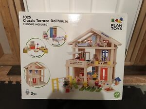 Plan Toys Classic Terrace Dollhouse and accessories