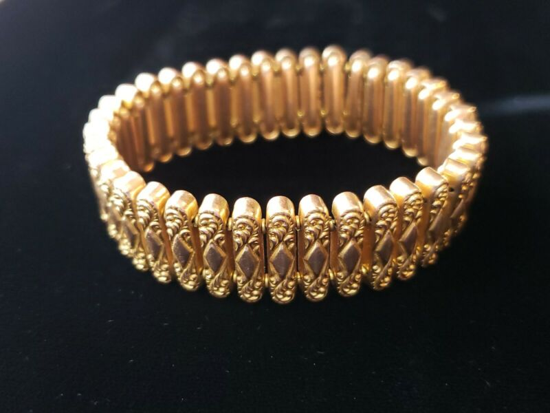 Antique Victorian Gold Filled Expandable Bracelet Signed AAG Co Pat. 05