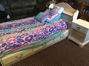 Single Bed with mattress, bedding and nightstand