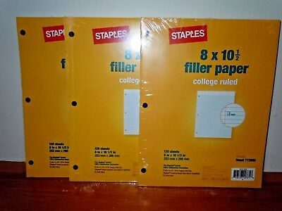College Ruled 8x10 12 Filler Paper 3 Hole 360 Sheets Total New