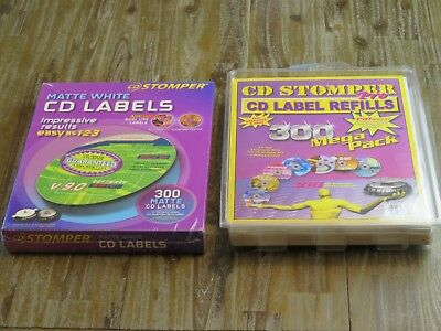 Lot Of 2 Cd Stomper Pro Label Refills 300 Mega Pack Sealed New - 600 Total