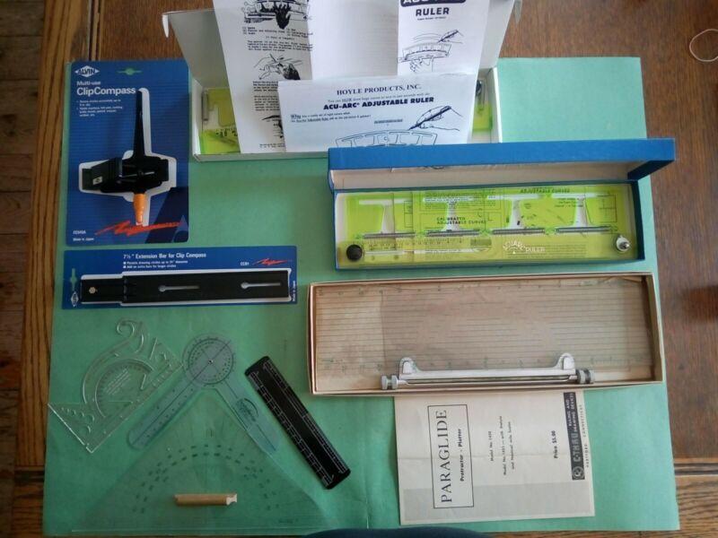 HOYLE ACU-ARC ADJUSTABLE RULER, PARAGLIDE PROTRACTOR, CLIP COMPASS