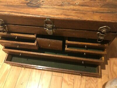 Vintage Oak Gerstner Style Machinists Star Chest Yale Tool Box