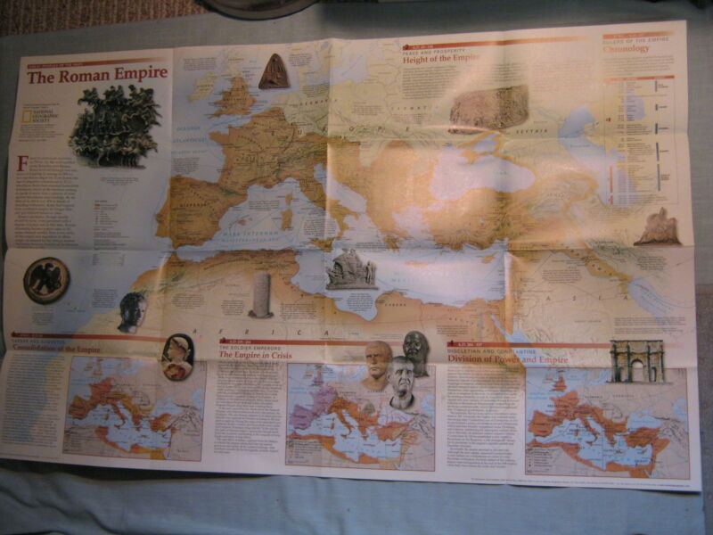 THE ROMANS - ANCIENT ROME - ROMAN EMPIRE WALL MAP  National Geographic 1997 MINT
