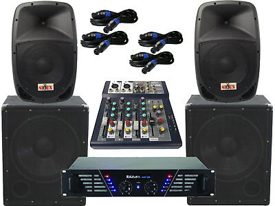 The PA-SET21 Amplifier Mixer Pa System 2 Way 25 cm Boxes USB Complete 2880Watt for sale  Shipping to Ireland